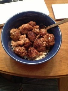 Picture me chewing these meatballs thoughtfully. Yes. I made those.